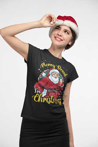 Woman wearing Merry Drunk, I'm Christmas T-Shirt