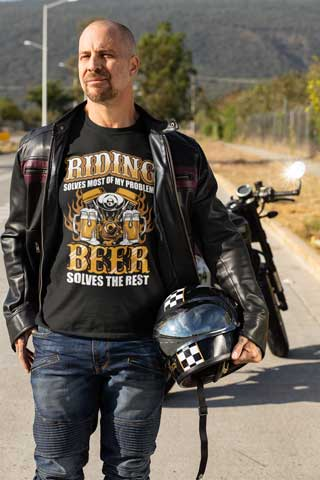 Man wearing Riding Solves Most Of My Problems, Beer Solves The Rest T-Shirt