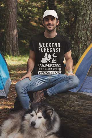 Man wearing Camping With a Chance of Drinking T-Shirt
