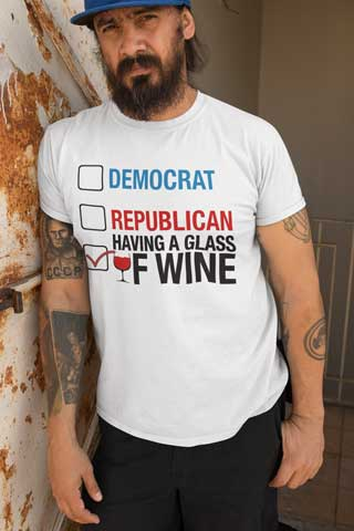 Man wearing Wine for President T-Shirt