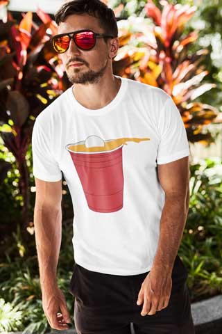 Man wearing Beer Pong T-Shirt