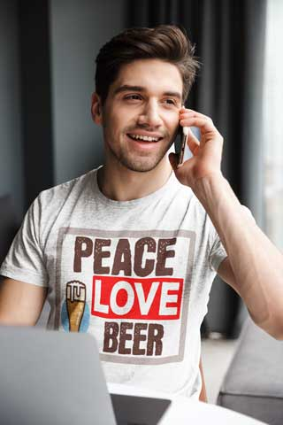Man Wearing Peace Love Beer T-Shirt