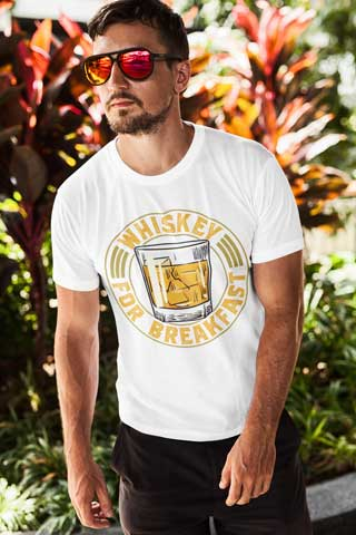 Man wearing Whiskey for Breakfast T-Shirt