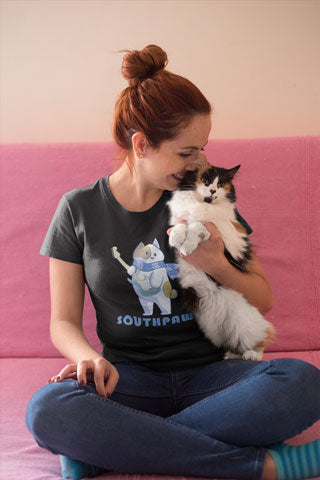 Woman wearing Southpaw T-Shirt while holding cat