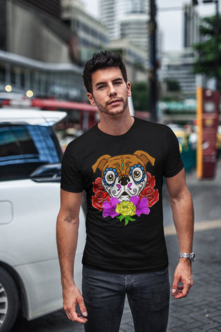 Man wearing Doggy de los Muertos T-Shirt