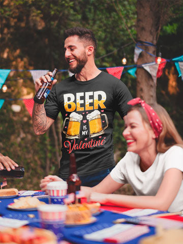 Man wearing Beer Is My Valentine T-Shirt