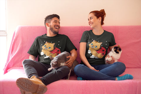Man and Woman sitting on sofa with Cat wearing Cat Lady Bug T-Shirts