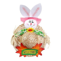 Easter Bunny Creative Straw Cap Kids Handmade Straw Cap Rabbit Easter Toys for Children Home Decoration Ornaments Gifts