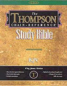 KJV Thompson Chain-Reference Bible/Handy Size-Black Capri Grain Genuine Leather