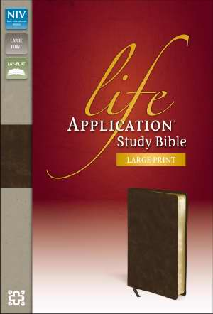 NIV Life Application Study Bible/Large Print-Distressed Brown Bonded Leather
