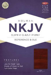NKJV Super Giant Print Reference Bible-Brown Leather Touch