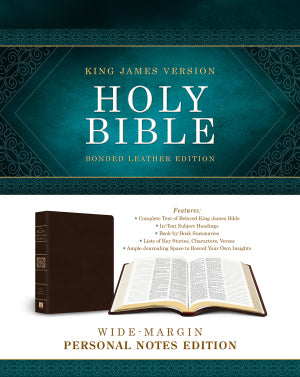 KJV Wide-Margin Personal Notes Bible-Burgundy Bonded Leather