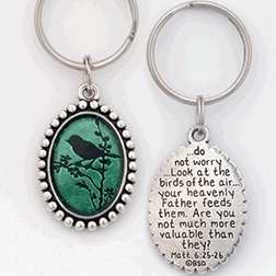 Key Chain-Bird (Matthew 6:25-26)-Pewter