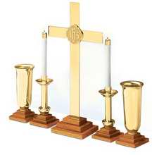 Altar Ware-Chapel Line Brass Complete Set W/Oak Base (RW 101BRK)