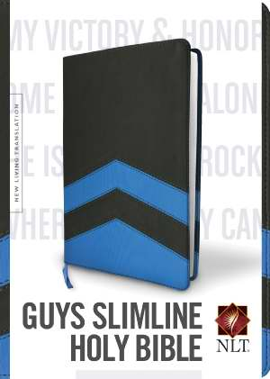 NLT2 Guys Slimline Bible-Charcoal/Blue Chevron TuTone Leather-Like