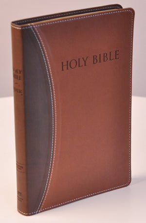 KJVER Thinline Bible/Large Print-Dark Brown/Light Brown Ultrasoft Indexed