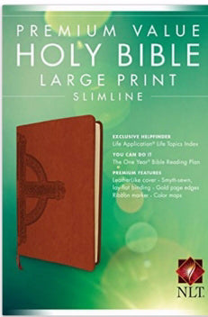 NLT2 Premium Value Large Print Slimline Bible-Sienna Cross Leather-Like