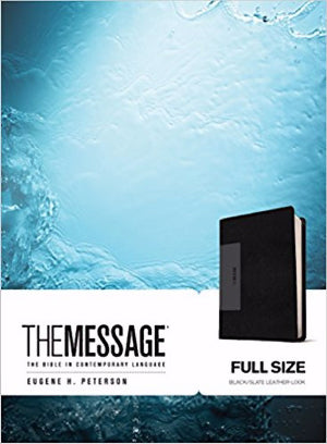 Message Bible-Black/Slate LeatherLook