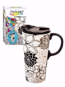 Mug-Travel-Just Add Color-Floral Pattern w/4 Markers (17 Oz)