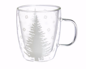 Cup-Coffee/Tea-White Tree-Glass w/Gift Box (12 oz)
