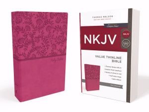 NKJV Thinline Bible (Comfort Print)-Pink Leathersoft