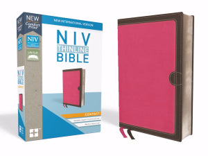 NIV Thinline Bible/Compact (Comfort Print)-Pink/Chocolate Leathersoft
