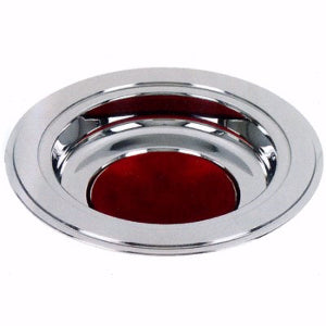 Offering Plate-Silver Tone-Burgundy Felt Pad
