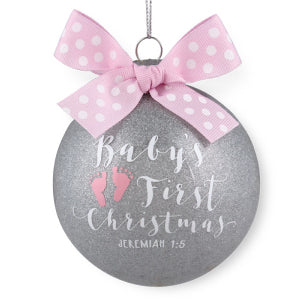 Ornament-Special Moments: Baby's First Christmas-Pink