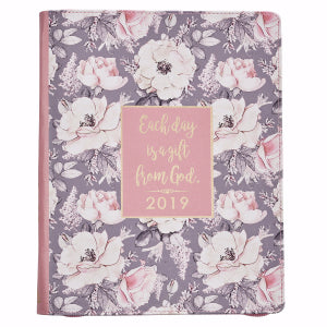 Planner-2019-Daily Planner For Women-Flower-Lux Leather