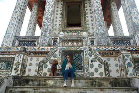 Anna and Kiara temple steps