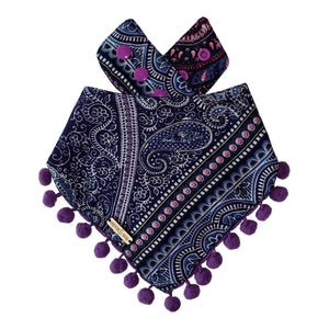 Dandasana Yogi Dog Bandana with Pom Poms