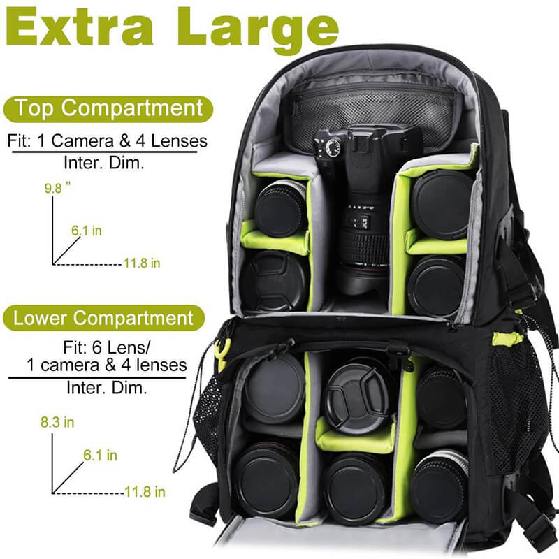 Endurax Large Camera DSLR/SLR Backpack for Outdoor Hiking Trekking with 15.6 Laptop Compartment - Enduraxphoto Camera bag backpack