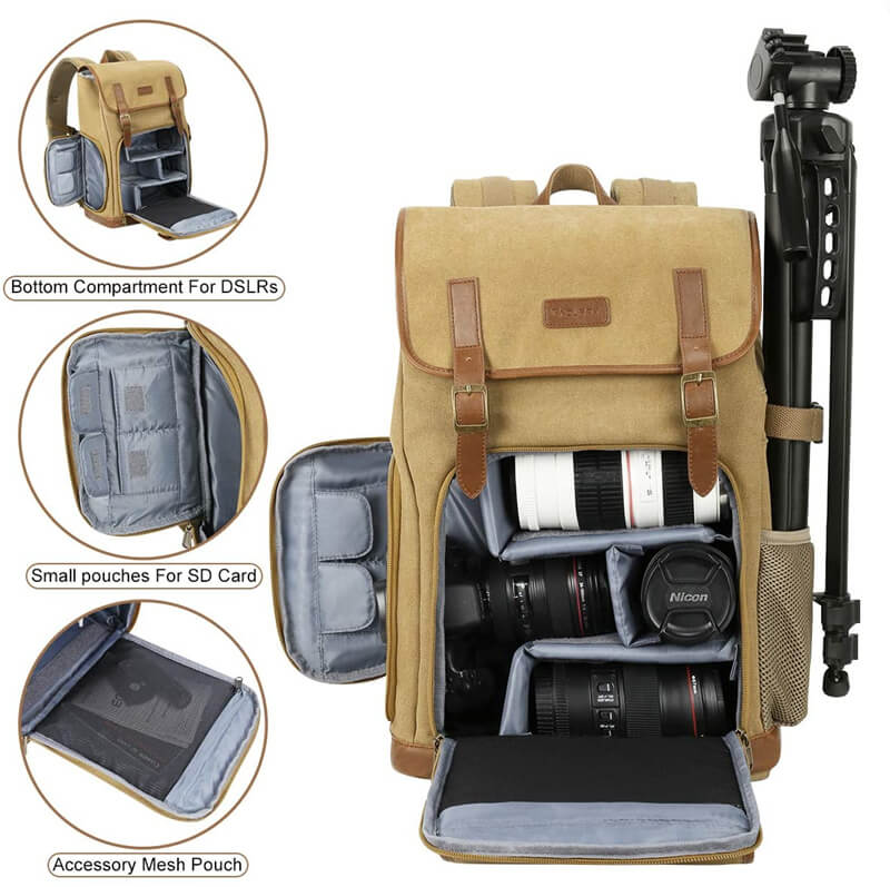 "Endurax Canvas Camera Backpack for DSLR Photography Backpack with Quick Access Dual Compartments Fit SLR Cameras 3-5 Lenses and 14"" Laptop Khaiki"