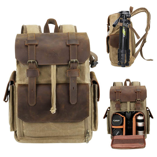 DSLR Vintage Canvas Leather Camera Bag Waterproof for Trekking - Enduraxphoto Camera bag backpack