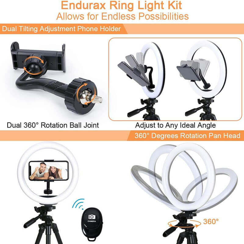 "Endurax 10""Selfie Ring Light with Tripod and Phone Holder for iPhone Android, Circle Light Ring Stand for Make Up/Tiktok/Live Streaming"