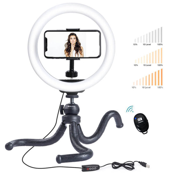 "Endurax 10"" LED Selfie Ring Light with Stand for Phone/iPhone with 3 Light Modes & 11 Brightness Levels"