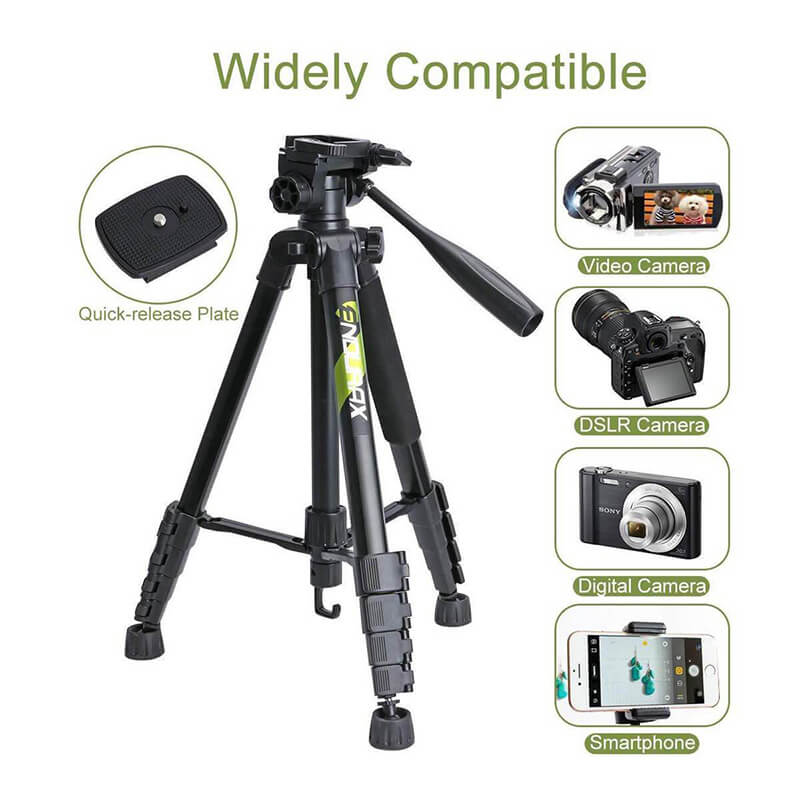 "Endurax 66"" Video Camera Tripod Travel DSLR Camera Stand Lightweight and Compact - Enduraxphoto Camera bag backpack"