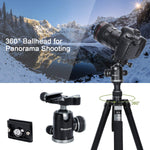 "Endurax 78"" Professional Camera Tripod Lightweight Aluminum Travel Tripod for Photography"