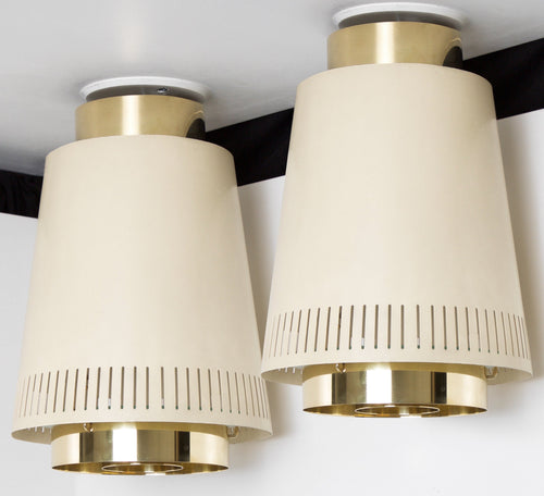 "Paavo Tynell Pair of 12"" Ceiling Lamps, Model 9067, 1950 - The Exchange Int"