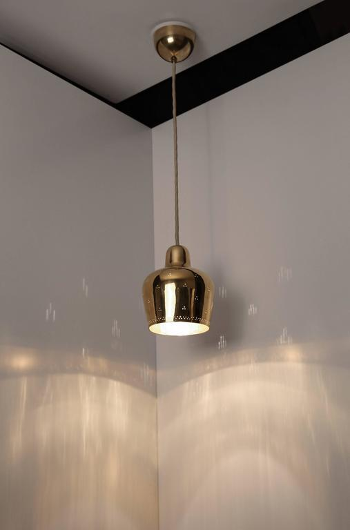 Paavo Tynell and Alvar Aalto Rare Golden Bell Pendant Light 1940s