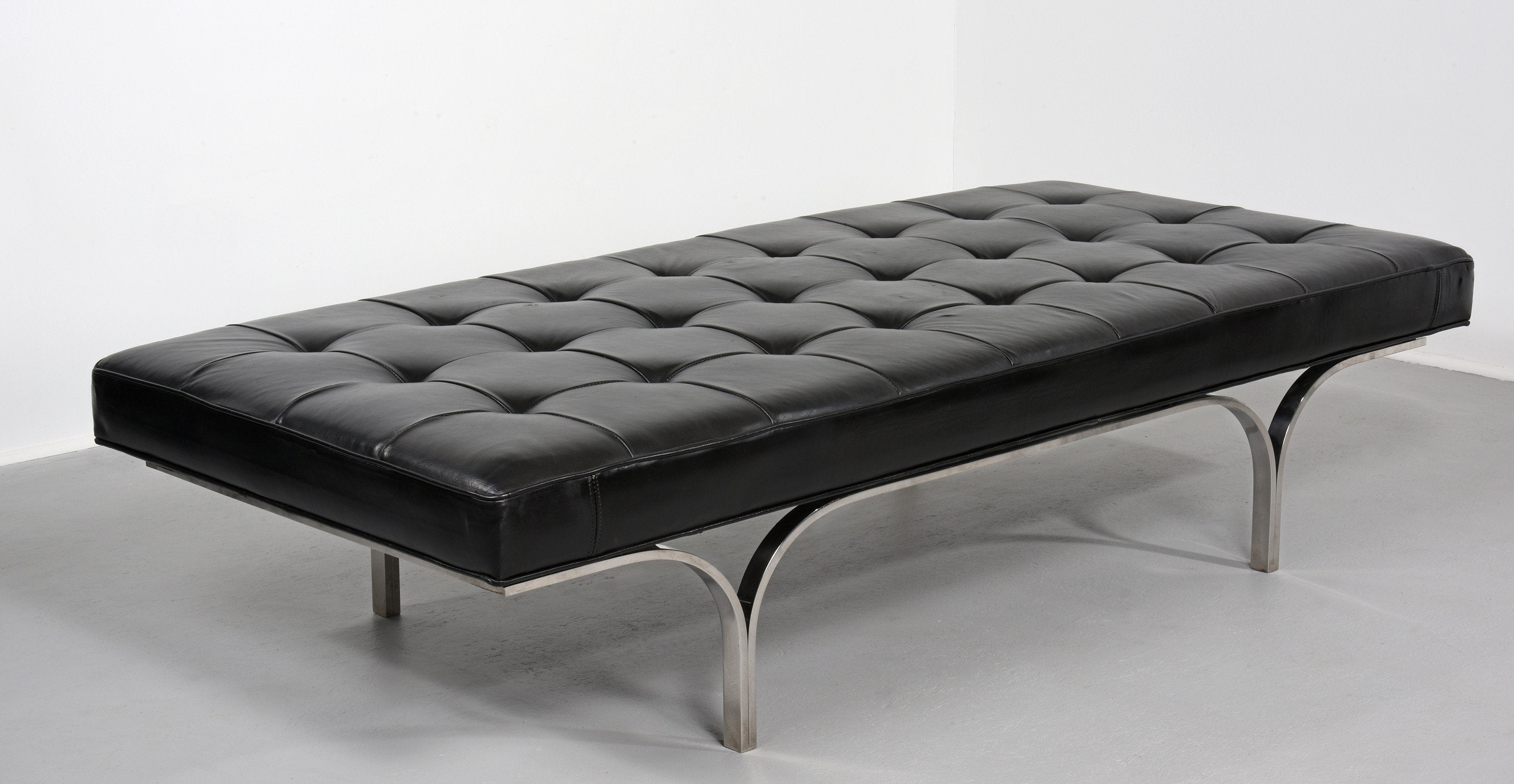 Erwine and Estelle Laverne Philharmonic Bench in Original Leather circa 1961