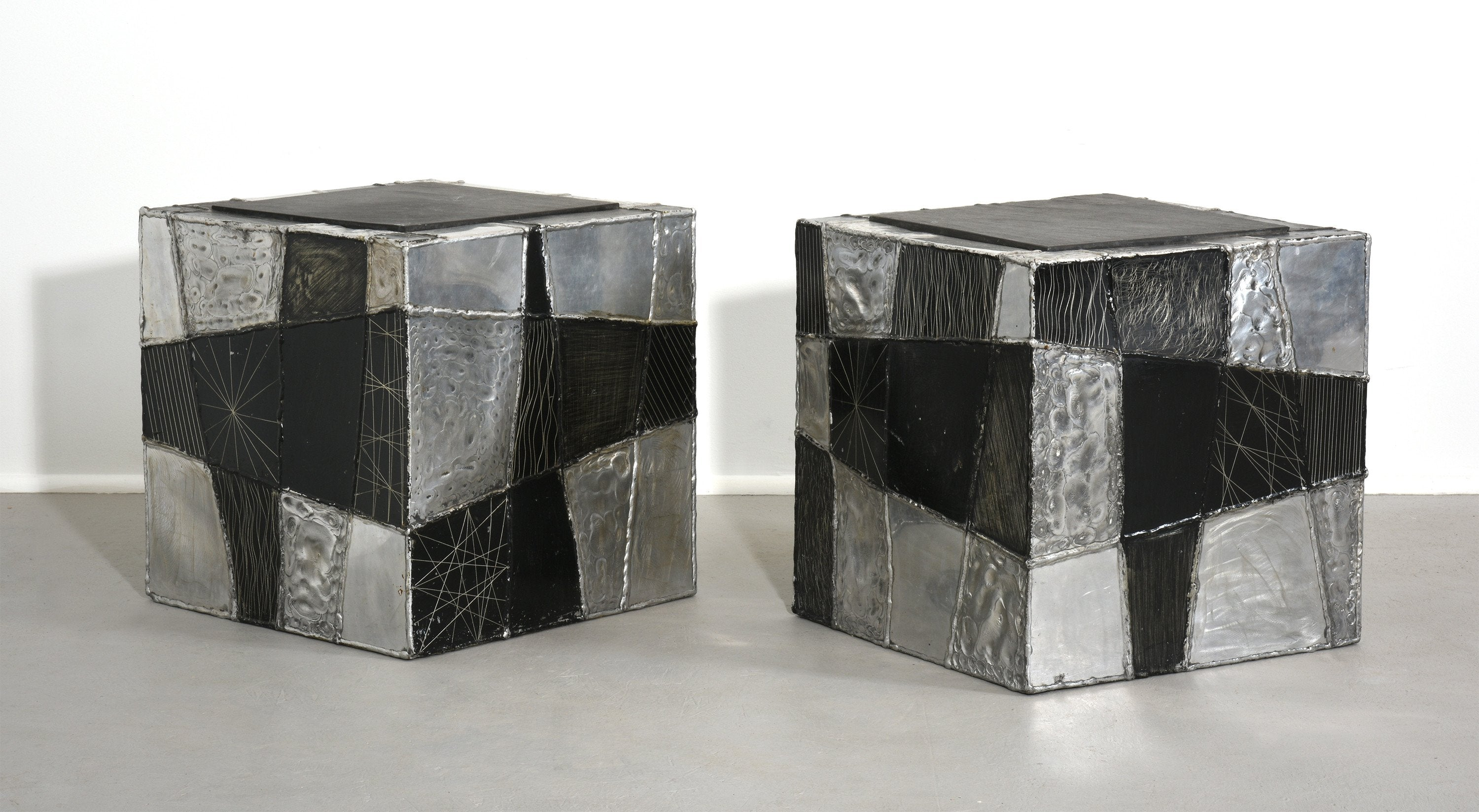 Paul Evans Pair of 'Argente' Cubes with Slate Tops, circa 1970s