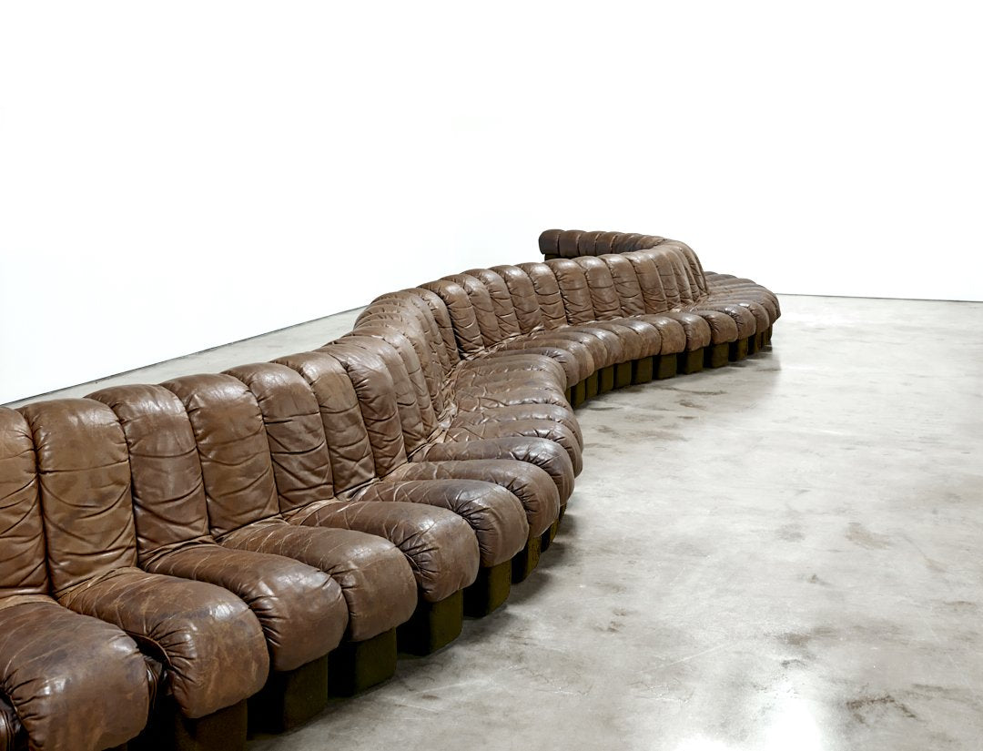 De Sede 'Non-Stop' Sofa, 43 Sections in Original Leather, Model DS-600, 1970s