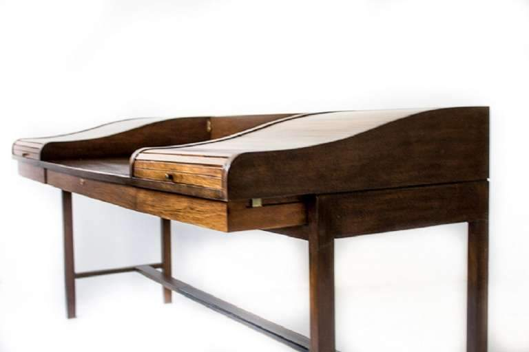 Edward Wormley for Dunbar Roll-Top Desk with Custom Rosewood Organizers, 1957