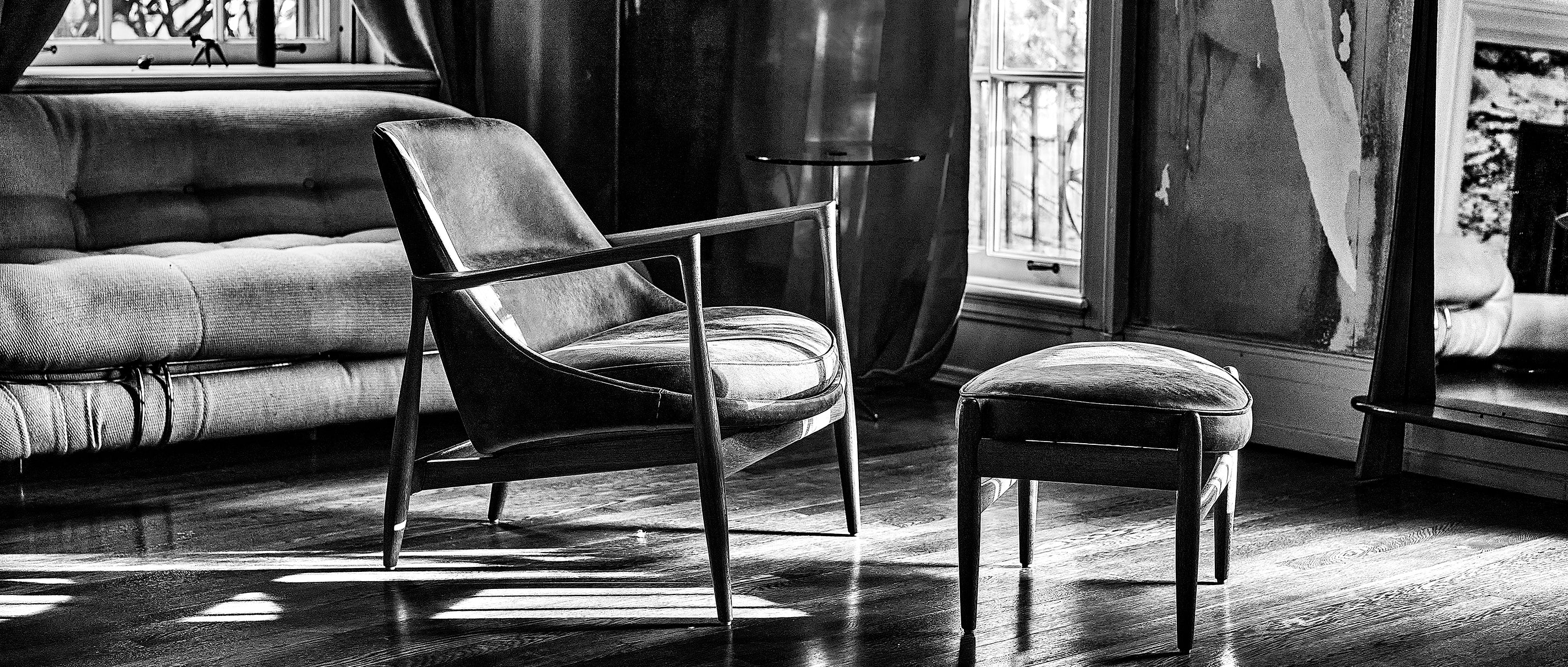 Ib Kofod Larsen Elisabeth Chair and Ottoman by Christensen and Larsen circa 1950s