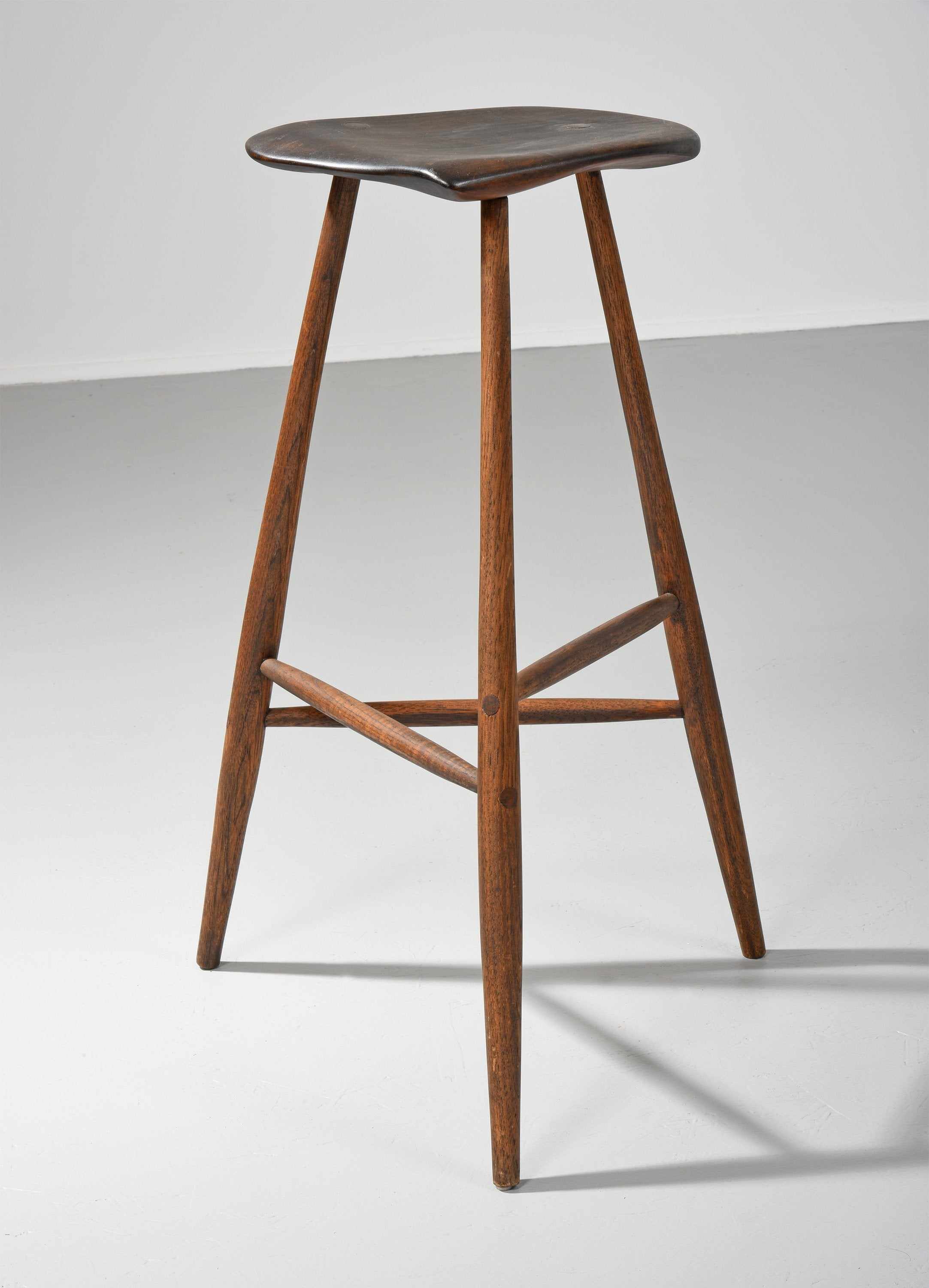Wharton Esherick Carved Hickory & Walnut Stool, 1959