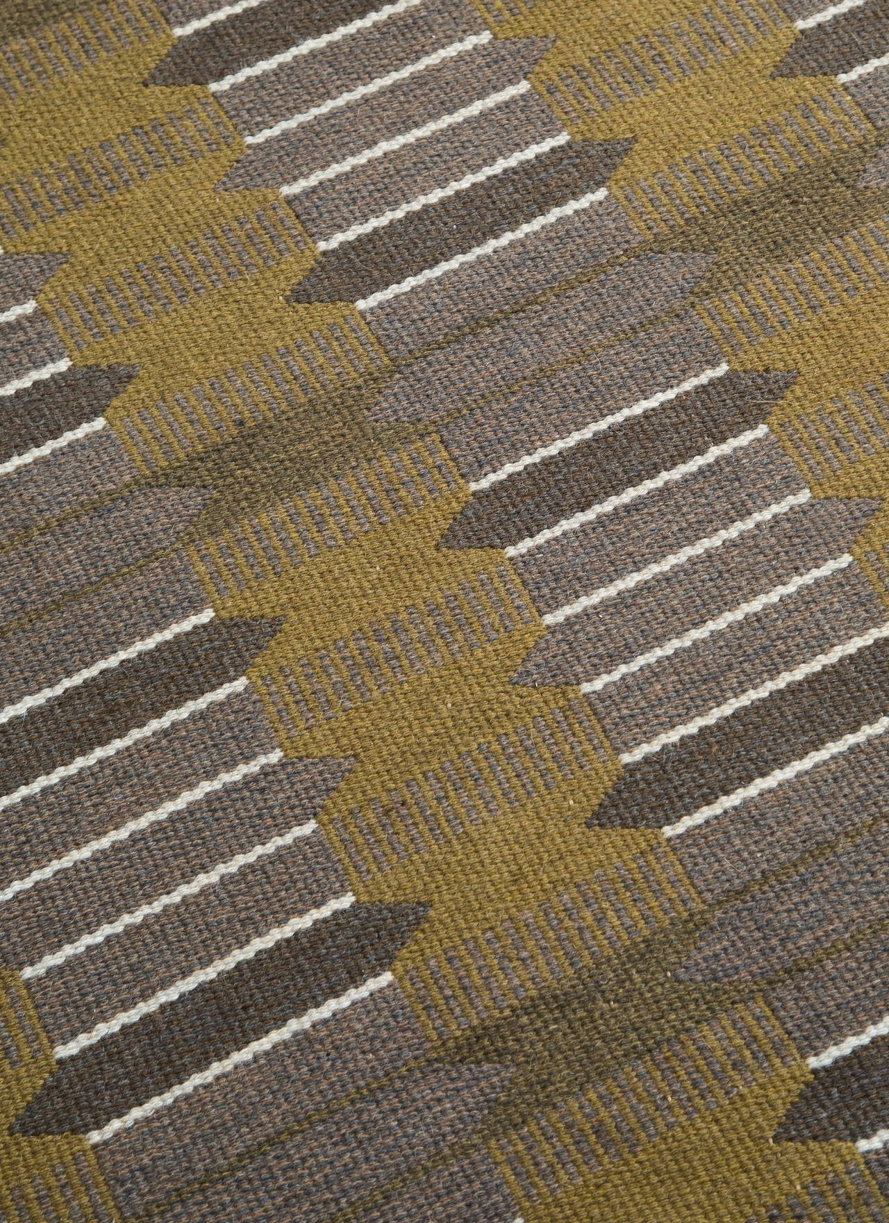 Vintage Swedish Flat-Weave Carpet, Handmade, 1950s