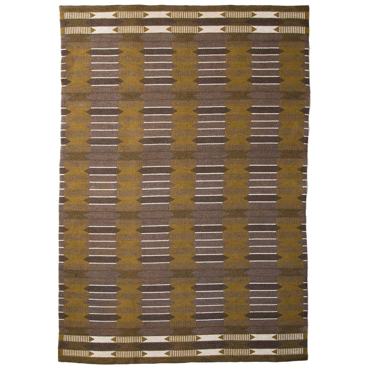 Vintage Swedish Flat-Weave Carpet, Handmade, 1950s - The Exchange Int