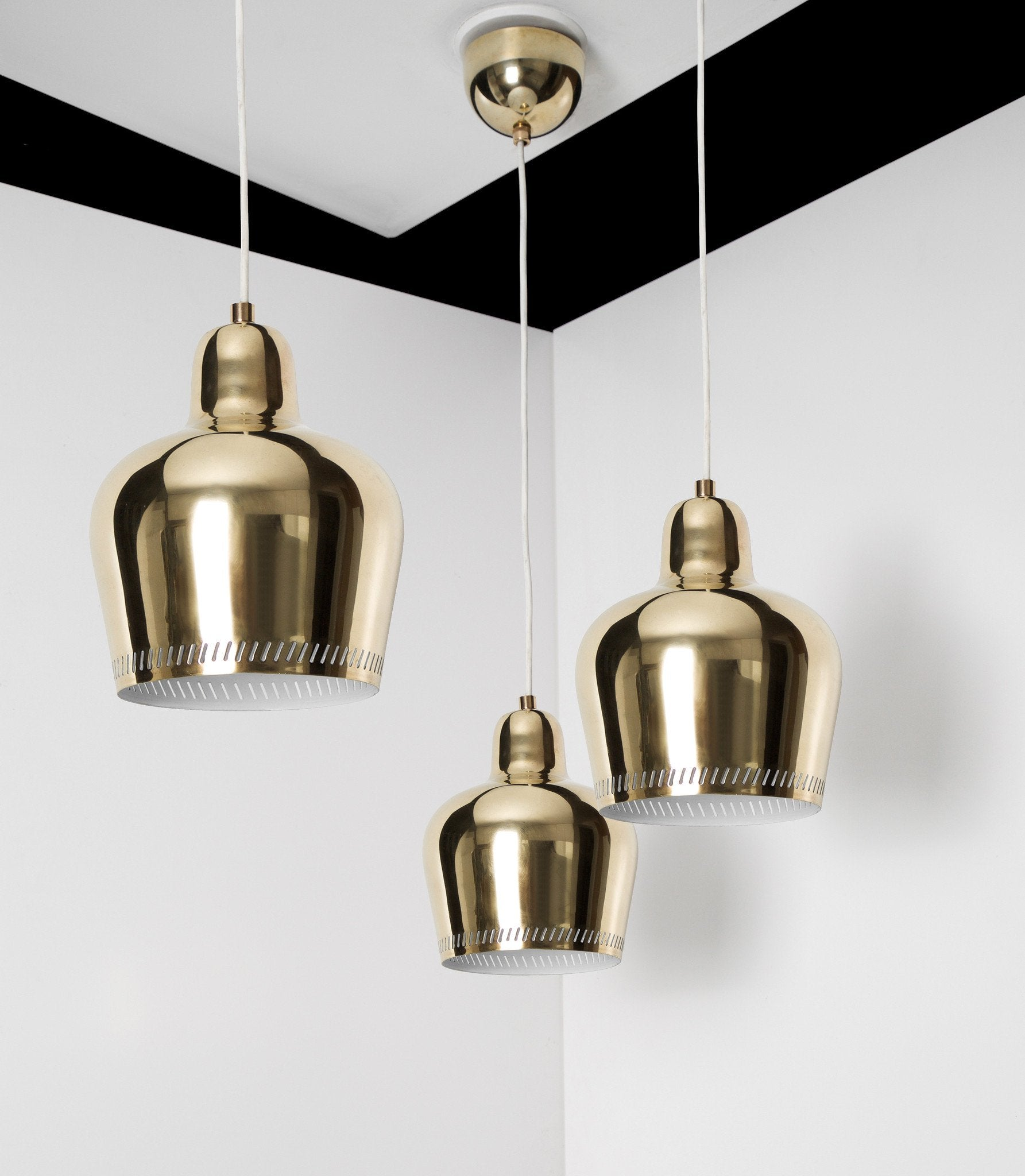 Paavo Tynell & Alvar Aalto, Set of Three Rare Golden Bell Pendants, 1940s
