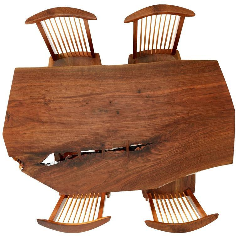 George Nakashima Conoid Dining Set with Single Board Walnut Surface, 1983 - The Exchange Int